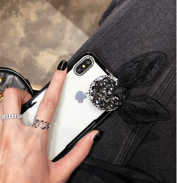 Luxury Rhinestone Airbag Bracket Phone Case For Xiaomi MIX2S MAX2 5 5X 6X 8 8SE Silicone TPU+Acrylic Lace Rabbit Ears Case