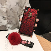 Luxury Square Embroidery 3D Rose Case For Samsung Galaxy S8 S9 Plus Note 9 Bright Glitter Powder Soft Silicone Lanyard Cover