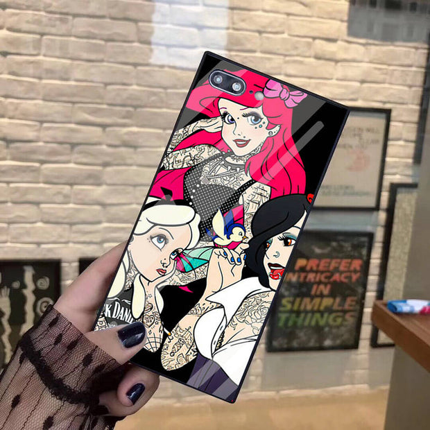 Luxury TPU + Tempered Glass Case For Iphone 7 Case Alice Ariel Tattoo Princess Girls Case For IPhone 10 X 6 6S 7 8 Plus Capinhas