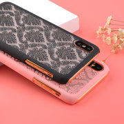 Luxury Transparent Vintage Lace Flower Pattern PC Phone Case For Iphone X Fashion Lace Palace Flower Protection Back Cover