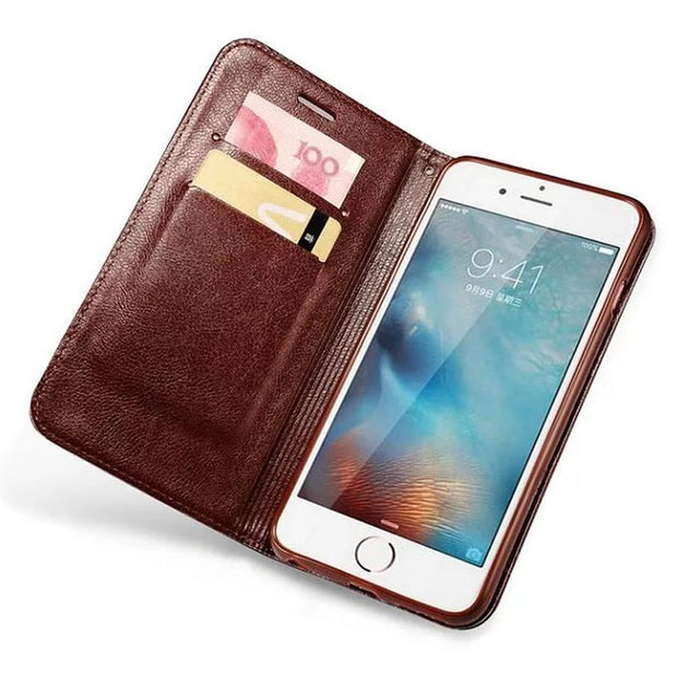 Luxury Wallet Cover PU Leather Case For IPhone 7 8 Plus 5S 6 6S Magnetic Phone Cases Bags Stand Flip Case For Iphone X XS MAX XR