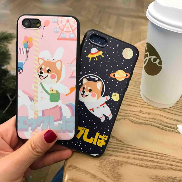 MA Simple Japanese Style Cute Cartoon Dog Woman Ins Hot Phone Case Cover For Iphone5 5S SE 6 6S 7 8 Plus X XS XR XS Max Soft