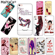 MaiYaCa Black Soft TPU SiliconePhone Case For IPhone 5s 6splus 7 Plus 8 8plus X Case New Women's Fashion High Heels Cover Funda