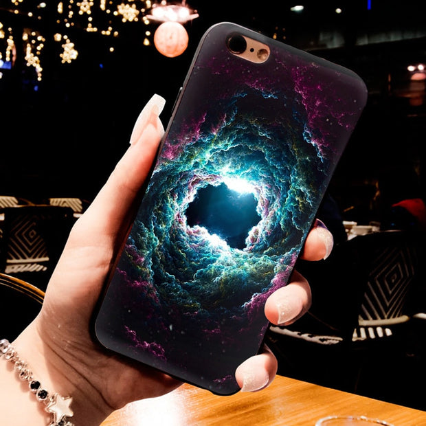 MaiYaCa Black Tpu Silicone Phone Case Accessories For IPhone X 5s 6s 6splus 7 7plus 8 8plus Case Sun Moon Sky Sea Cloud Cover