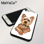 MaiYaCa Phone Case For IPhone5 5s SE 6 6s 6splus 7 8plus X Case Yorkshire Terrier Dog Puppy Black Soft TPU Silicone High Quality