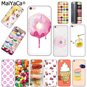 MaiYaCa SWEET Pink Donuts Macarons Black Silicone Phone Case For IPhone X 8 8plus 5 5s 6s 7 Plus Case Cover For Iphone 6 Case