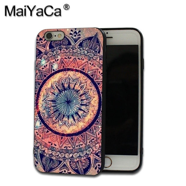MaiYaCa Black Silicone Soft Phone Case Accessories Cover For IPhone 5 6 6s 7 7plus 8 X Case Aztec Line Retro Mandala Flower
