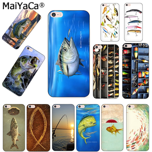 MaiYaCa Black Siliconesoft Tpu Phone Case For IPhone 5s 6 6s 7 8 8plus X Case Southern Blue Fish Fishing Lake Tackle Box Fishing