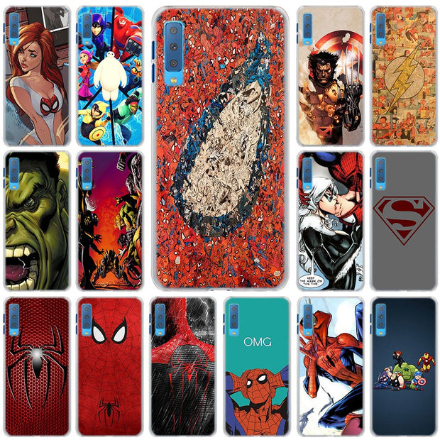 Marvel Hero Spider Man Cases Cover For Samsung Galaxy A6 A6+ A8 A8+ 2018 A3 A5 A7 A9 2018 A8s A6s Hard Back Phone Case