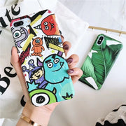Matcheasy Banana Leaves Phone Case For Iphone X Case Hard PC Back Cover For Iphone 6S 6 7 8 Plus Cute Cartoon Coque Capa