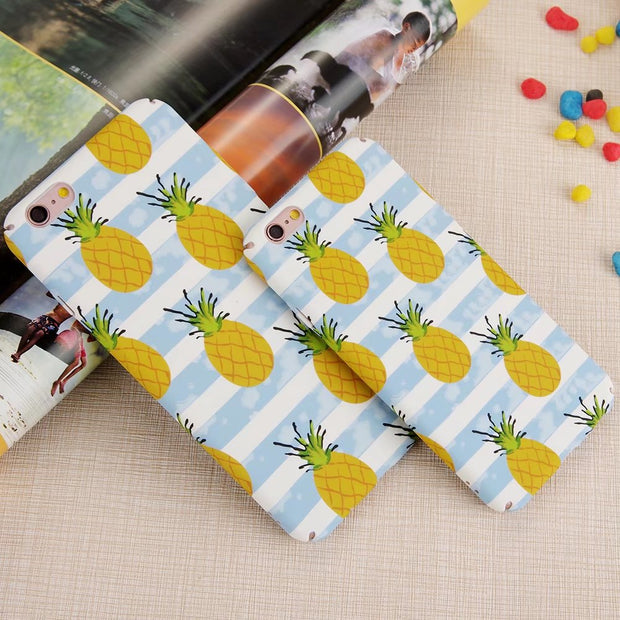 Matcheasy Cute Cartoon Fruit Patterned Phone Case For IPhone 6 6s 7 8 Plus Cases Matte PC Hard Back Cover For Iphone X 10 Coque