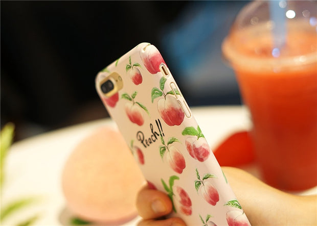 Matcheasy Cute Pineapple Cherry Peach Pattern Phone Cover For Iphone 6 6S 7 8 Plus Case Hard PC Summer Phone Case Coque Funda