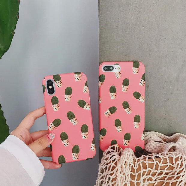 Matcheasy Fashion Hard PC Case For IPhone 7 Cover Cartoon Cactus Case Cute Phone Back Cover For Coque IPhone X 7 6 6S 8 Plus