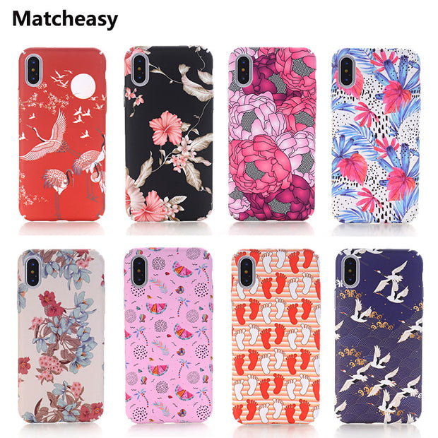 Matcheasy Fashion New Style Crane Bird Case For IPhone 7 Cover Luxury IPhone 8 6 6s Plus 360 Degree Full Cover For IPhone X Case