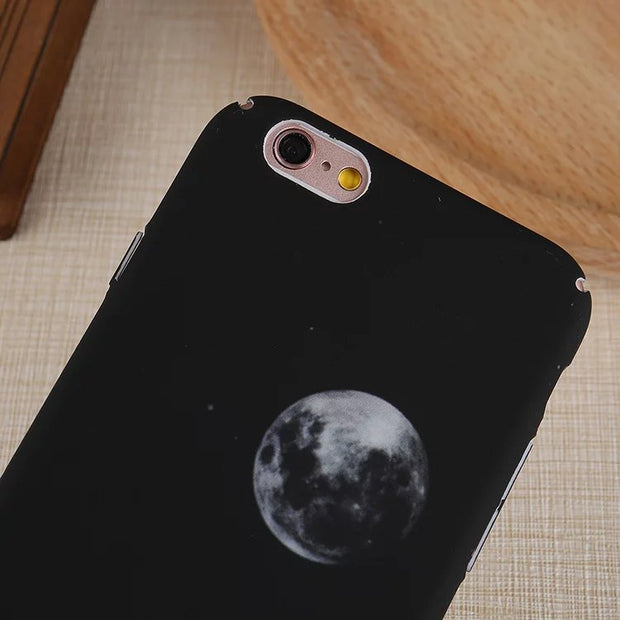 Matcheasy Matt Space Planet Phone Case For Iphone X Hard PC Back Cover For Iphone 6 6S 7 8 Plus Case Capa Starry Sky Cover Coque