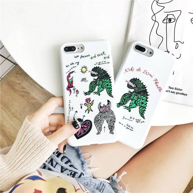 Matcheasy Phone Case For IPhone 7 8 6 6s Plus 3D Relief Dinosaur Pattern Fashion Soft TPU Cover For IPhone X 10 Cases Coque Capa