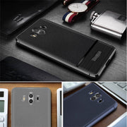 Mate 10 Litchi Patterned Case For Huawei Mate 10 Pro Brushed Slim Soft TPU Rugged Armor Rubber Gel Back Cover For Mate 10 Lite