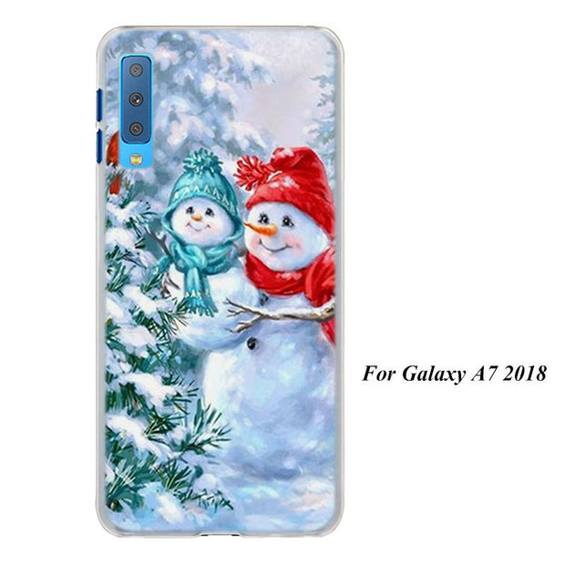 Merry Christmas Snowman Cases Cover For Samsung Galaxy A6 A6+ A8 A8+ 2018 A3 A5 A7 A9 2018 A8s A6s Hard Back Phone Case