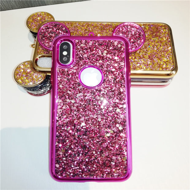 Mickey Mouse Ears Case For Iphone X 8 7 6 6S Plus 5 5S SE Case For Samsung Galaxy S9 S8 S7 Luxury Glitter Sequins Soft TPU Cover