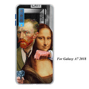 Mona Lisa Funny Spoof Art Cases Cover For Samsung Galaxy A6 A6+ A8 A8+ 2018 A3 A5 A7 A9 2018 A8s A6s Hard Back Phone Case
