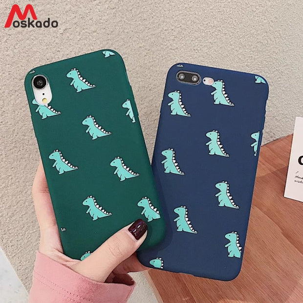 69e91ce035 Moskado Phone Case For Iphone 8 7 6 6s Plus Cartoon Dinosaur Cute Couples  Cover For