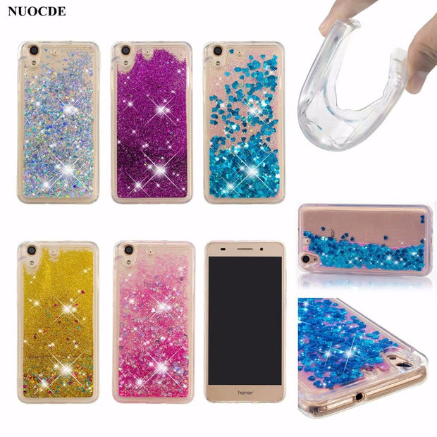 NUOCDE Soft Case For Huawei Y6 II Cover Glitter Dynamic Liquid ...