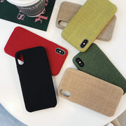 New Autumn Cover For Iphone Xs Max Cases Back Shell Plain Fabric Linen Cover For Iphone Xr Cases Coque Fundas Capa Bumper