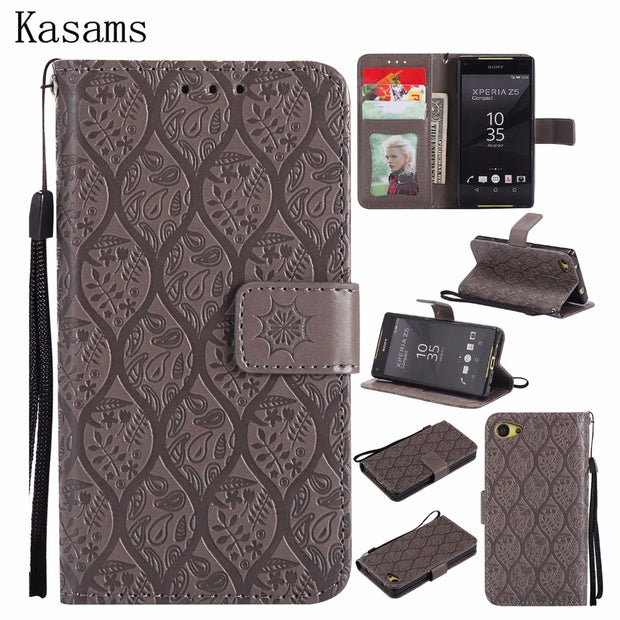 New Design For Sony Xperia Z5 Compact Mini Phone Case For Sony Z5 PU Leather Mobile Shell Wallet Magnet Flip Stand Cover