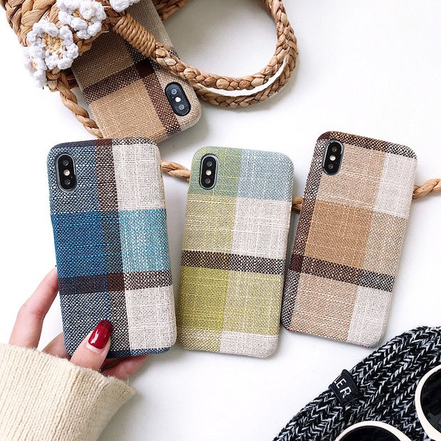 New Linen Phone Cases For Iphone 7 8 6 6 S Plus Half-Wrapped Cases For Iphone 6 7 8 6S X 10 Anti-knock Back Cover Shell Coque