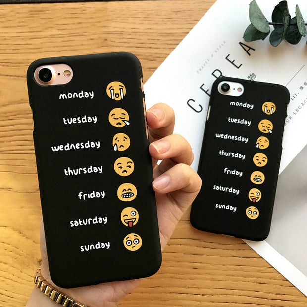 New Skin Black Week Emoji Matte Funda Hard Cover Capa Carcasas Coque Etui For IPhone X 8 7 Plus 6 6s 6 Plus Plastic Hoesje Case