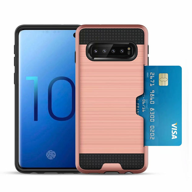 New Slim Armor Card Slot Case For Samsung Galaxy S10 Case For Samsung S10 Anti-Fingerprint Hybrid 2 In 1 Shockproof Back Cover