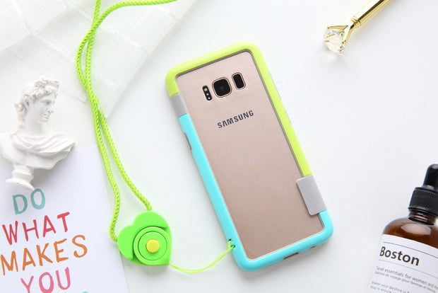 New Wolnutt Contrast Color Soft TPU + Plastic Bicolor Dots Frame Case With Lanyard Bumper For Sansung Galaxy S8/S8 Plus S8+ Case