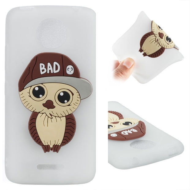 New Style 3D Owl Patterned Cover For Moto E4plus Cplus G5 G5plus Back Fundas Soft TPU Phone Cases