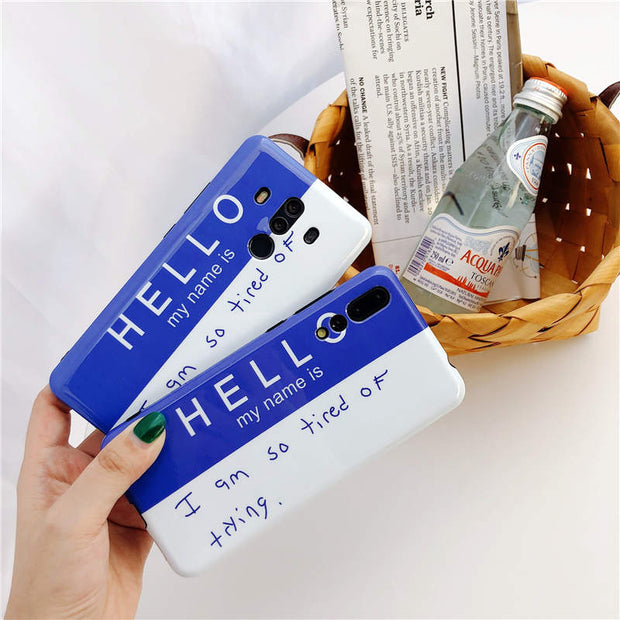 Nova 3 Hello Glossy Simple Word IMD Pattern Case For Huawei Nova 2s Gel Soft TPU Cover For Huawei P10 P20 Plus Pro Mate 10