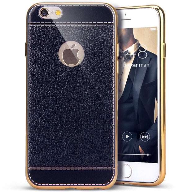 ON SALE ! 2017 New Design GULYNN Luxury Ultra Silm Vintage Classic TPU Leather Phone Case Cover For Iphone 5 5s Se 6 6s 7 Plus