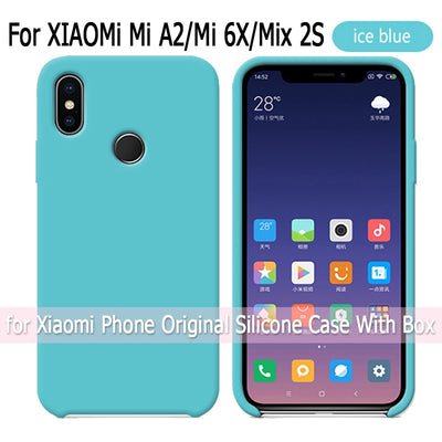 Official Style Silicone Case For Xiaomi Mi A2 Mi 6X Original Cover For Xiaomi Mi Mix 2S Phone Cases Back Cover With Retail Box