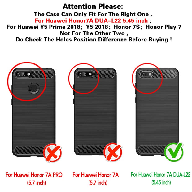 Ojeleye Soft Case For Huawei Y5 Prime 2018 Case Silicone Brushed Funda For Huawei Y5 2018 Cover SLine Bag Honor 7S 7A RU Version