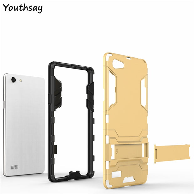 Oppo A33 Case A33M A33W A33T Luxury Plastic Robot Phone Stand PC +TPU Case For Oppo A33 Cover For Fundas Oppo Neo 7