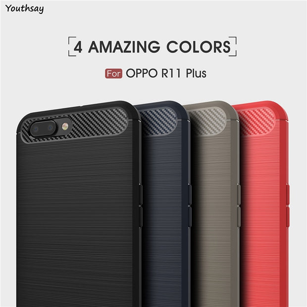 Oppo R11 Plus Case Soft Carbon Fiber Slim TPU Anti-knock Phone Case For Oppo R11 Plus Cover For Case Oppo R11+ Coque 6 Inch