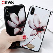 Ottwn Lotus Flowers Case For Iphone 7 Plus XS Max XR Silicon Phone Case For IPhone X 8 6 6S 7 Plus 5 5S SE Soft TPU Back Cover