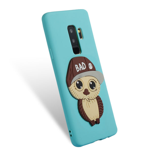 Owl Pattern For Samsung S9 Plus Case Silicone Marble Phone Cover For Samsung Galaxy S9 Plus Luxury Soft TPU Shiny Back Fundas