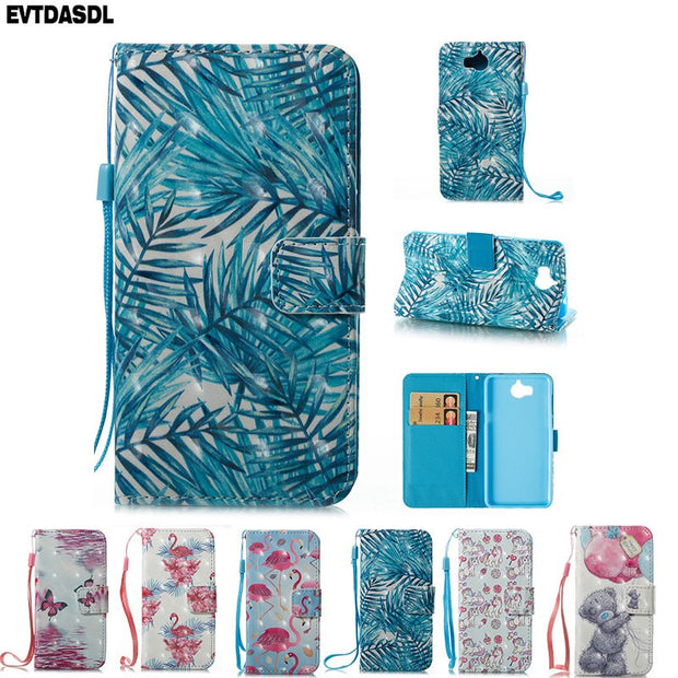 Pattern Case For Huawei Y5/Y6 2017 III MYA L22 Flamingo Unicorn Flip  Leather Wallet Cover For Huawei Y 5 2017 MYA-L22 MYA- L 122
