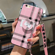 Personality Fashion Phone Case For Iphone XS XR XS Max X 6 6s 7 8 Plus 7plus Goddess Style Trend Lattice Striped Bracket