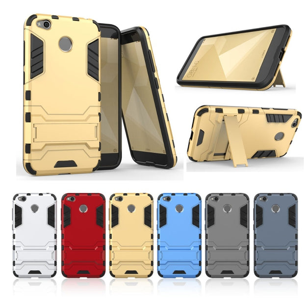 Phone Stand Case For Xiaomi Redmi 4X 4A 5A 5 Plus Mi A1 A2 6X 6 3S NOTE 5 5A 4X 3 4 Pro Prime Case Hybrid PC TPU Kickstand Cover