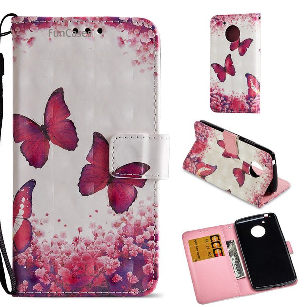 Pretty Butterfly Flip Phone Case SFor Estuche Moto E4 US Version Soft TPU Phone Case Protect Motorola E4 US Version