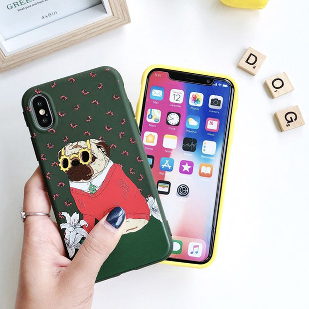 Relief Cute Dog Patterned Phone Cases For Iphone 6S Plus Back Cover For Iphone 8 7 6 Plus X 10 Soft Silicon Cases Coque Fundas