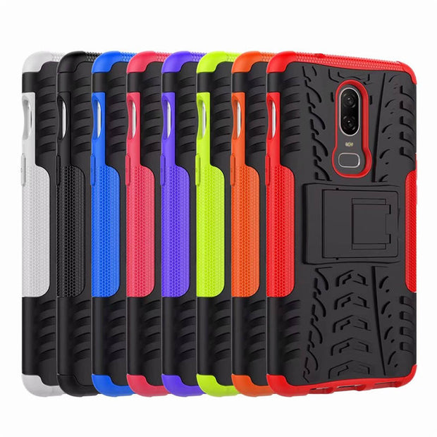 Rugged Hybrid Armor Cover For OnePlus 6 Case Rubber Silicone + PC Phone Case For One Plus 6 A6000 A6003 Back Cover Kickstand