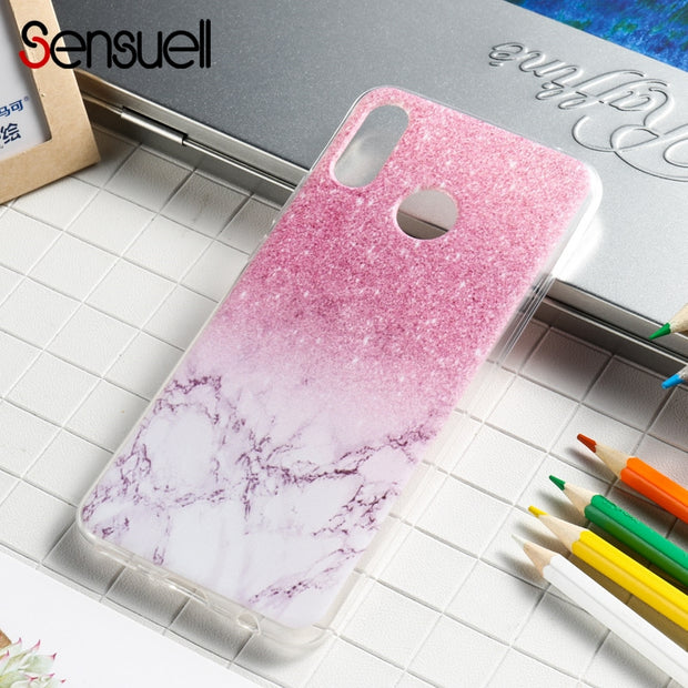 SENSUELL Silicone Case For Huawei Nova 3 Case Anti-knock Soft TPU Back Cover Painted Transpsrent Protective Shell Bag Housing
