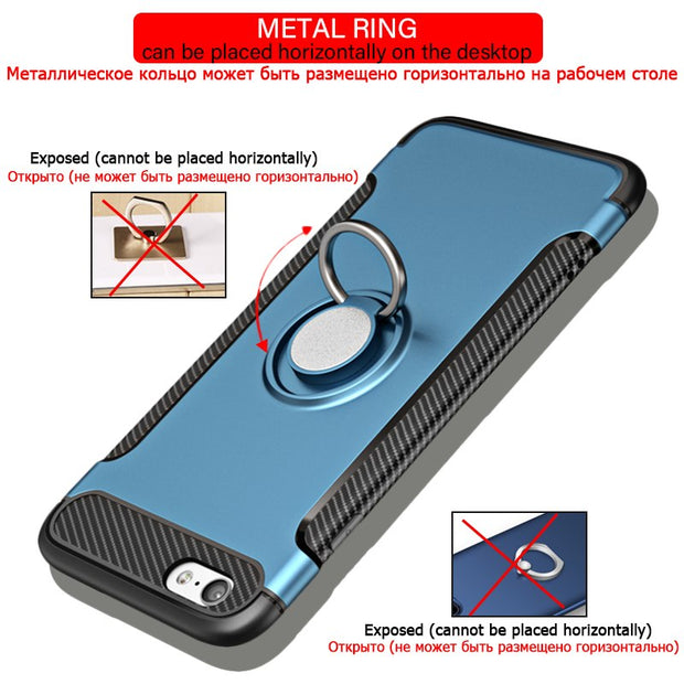 SIXEVE Fashion Bracket Phone Case For IPhone 6 6S Plus 7 8 Plus 5 5S SE X Metal Finger Ring Heavy Huty Protection Coque Fanda