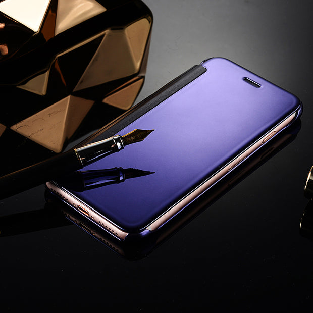 SIXEVE Luxury Plated Mirror Flip Case For IPhone 6 6S 7 8 Plus X Fashion Full Protection Cover For IPhone 5 5S 5E Capa